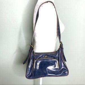 Hobo blue leather external pockets shoulder bag